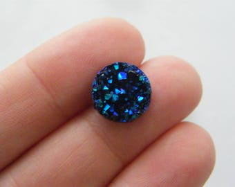 10 Dark blue resin druzy cabochon 12mm CB9