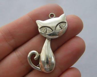 4 Cat pendants antique silver tone CT60