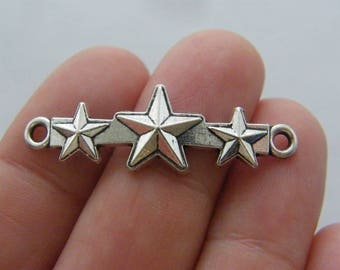 8 Star connectors antique silver tone S165