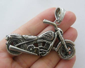 1 Motorbike charm antique silver tone stainless steel TT54