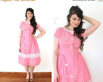 ON SALE 1950s Dress / 50s 1940s Pink Chambray Striped County Fair Dress