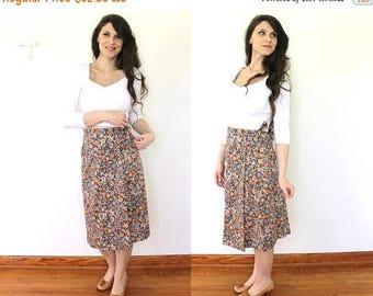 ON SALE 70s Floral Wrap Skirt / 1970s High Waisted Floral Wrap Skirt