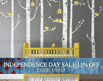Independence Day Sale - Birch Tree Birds Wall Sticker Set, Baby Nursery Wall Decals, Nursery Wall Stickers, Tree with Birds Decal, Girls