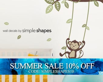Monkey on a Swing Wall Decal - Kids Vinyl Wall Sticker Decal Set - Swinging Monkey - Kids Wall Decal - Nursery Decals