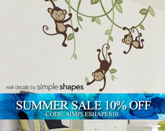 Monkey decals, 3 Monkeys Swinging From Vines Wall Decal - Kids Vinyl Wall Sticker Decal Set - Nursery Decals