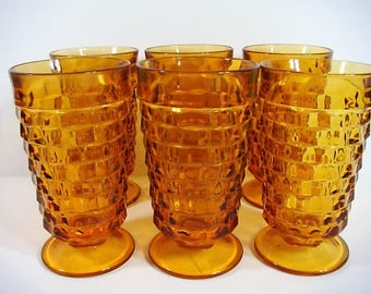 6 Amber Indiana Glass Whitehall Cubist Footed Water Goblets Indiana Glass Water Glasses Tea Glasses