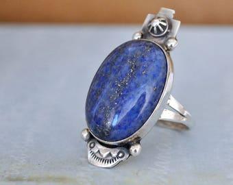 VINTAGE FIND native Navajo large blue lapis sterling silver ring, sterling silver cocktail ring, size 9, artist signed ring, Roger Skeet,