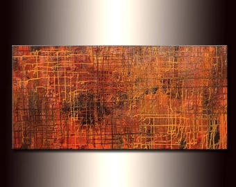 Abstract Art ,Original Modern Metallic Abstract Painting ,Contemporary Large Fine Art by Henry Parsinia 48x24