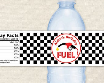 "Race Car Party Water Labels - ""Fuel"" - 100% waterproof personalized water bottle labels"
