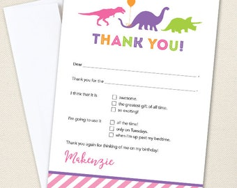 Pink Dinosaur Party Thank You Cards - Professionally printed *or* DIY printable