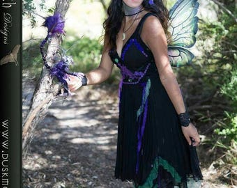 Black lace  and chiffon faerie dress - fairy pixie hippie boho cosplay