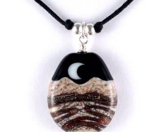 "Necklace ""Golden Landscape"" Handmade Lampwork Glass Bead"
