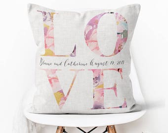 Cotton Anniversary Gift Wedding Gift Pillow Cover Personalized LOVE Wedding Pillow Cover Cotton Anniversary Gift Pillow Cover