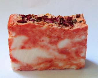 Winter Rose Soap-with Rose Buds-Bath Bar Soap-FREE LIMITED Time SHIPPING-2 Sizes while they last