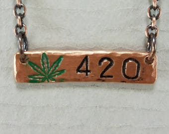 420 Hand Stamped Bar Necklace