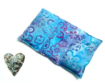 Hot cold pack, microwavable, aromatherapy, microwave heat pack, blue batik, freezer cold pack, flax seed rice lavender, back, tummy, neck