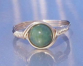 25% Off Sale African Jade 14k Yellow Gold Fill Wire Wrapped Ring
