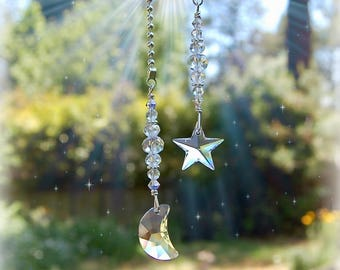 Swarovski Moon and Star Ceiling Light Fan Pull Set, Crystal Pull Chain
