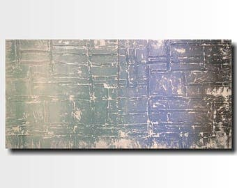 Industrial Art painting - 24 X 48- Art-by Artist JMJartstudio -Beyond all -Wall art-wall decor Blue painting-Oil painting-wall art