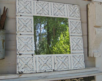 Vintage Mirror. Tin Ceiling Tile Mirror. Chippy distressed white shabby paint. Bathroom bedroom wall mirror. Architectural salvage