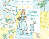 Printable DAISY Planner Kit!-Digital Instant Download-yellow, die cuts, stickers, digital paper, journal cards, Spring, Easter, hand drawn