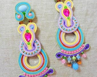 Multicolor statement earrings Soutache, chandeliers, boho Gypsy earrings, fortune teller earrings, embroidered earrings, folk sicily earings