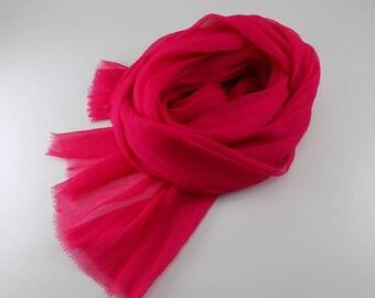 Handmade Silk Scarf ---Hot Pink