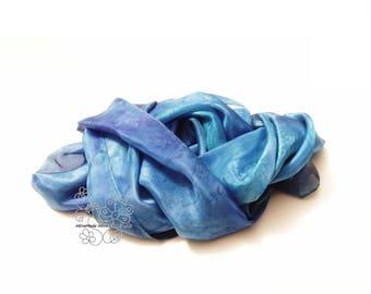 Blue silk scarf, long silk scarf, fashion silk scarf, sharong, beach skirt, feminine, gift for women, boho wedding, bohemian clothing