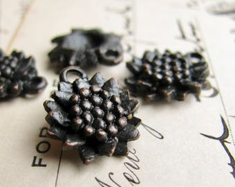 Little black sunflower charm from Bad Girl Castings - 14mm - solid antiqued dark pewter (4 charms) rustic oxidized, black flower charms