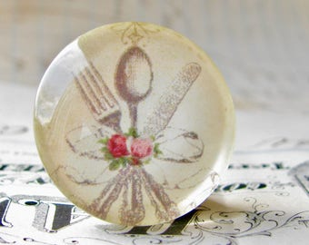 Silverware from our Vintage Kitchen collection of handmade glass oval cabochons, 25mm circle, knife, fork, spoon, round bottle cap 1 inch