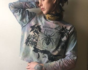 Cocteau Twins Hand Sewn Long Sleeve Shirt in pink and baby blue and patchwork details