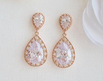 Rose Gold Bridal Earrings Crystal Drop Earrings Gold Teardrop Earrings Vintage Style Cubic Zirconia Wedding Earrings Wedding Jewelry, Evelyn
