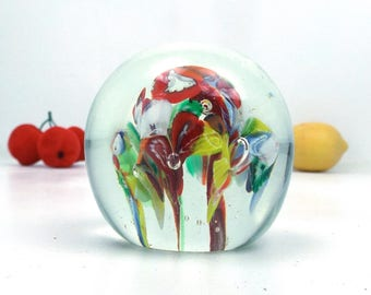 vintage 60s colorful flowers glass paperweight office art artwork display collectible controlled blown mid century modern mcm millefiori old
