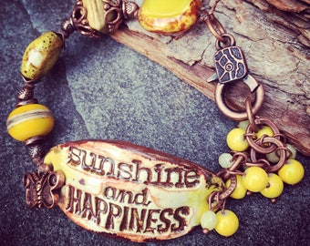 Sunshine Bracelet, Happiness Bracelet, Word Bracelet, Affirmation Jewelry, Spiritual Jewelry, Yellow Bracelet, Earthy Bracelet, YaYJewelry