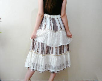 Ruffle Tiered Skirt Brown and ivory ruffled layered Gypsy skirt  Layered Skirt, Ruffled skirt , refashioned clothing ruffle