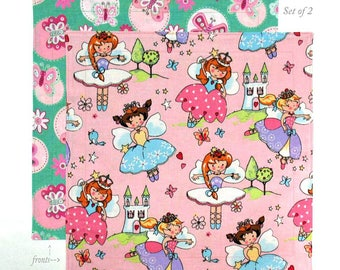 Kids Cloth Napkins, 12 Inch Fabric Lunch Box Napkins for Girls, Fairy Princess, Set of 2