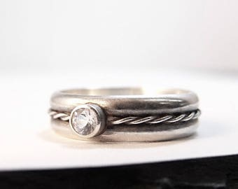 Engagement Ring, White Sapphire Engagement, Womens Ring, Womens Engagement Wedding Band, Wedding Ring, Single Twist Braided Silver Band 5.75