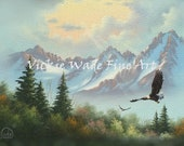 Mountain and Eagle Painting ORIGINAL 12X16, mountain landscape, soaring eagle, mountain painting, original eagle painting, Vickie Wade Art