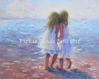 Two Sisters Beach Art Print beach girls, two beach girls, two blonde sisters, whispering, best friends, wall decor, ocean, Vickie Wade art