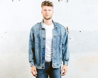 Oversized Denim Jacket . Acid Wash Blue Jeans Jacket Vintage 80s Men's Trucker Jacket Denim Stonewashed Faded Jacket . size Large
