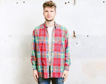 Vintage 90s Grunge Plaid Shirt . Jacket Men's Flannel Red Shirt Thick Lumberjack Shirt Jacket Oversized Boyfriend Shirt . size Large