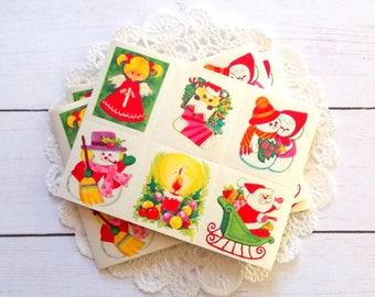 Vintage Christmas Gummed Seal Stickers / Set of 30