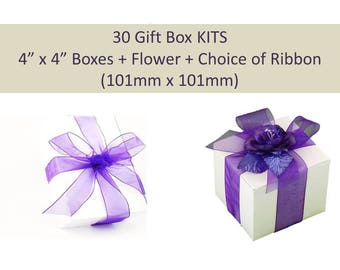 30 Gift Box KITS - Box + Choice of Color Ribbon + Optional Satin Flower Topper for Wedding Favors, Wedding Party Gifts, Party Favor Boxes