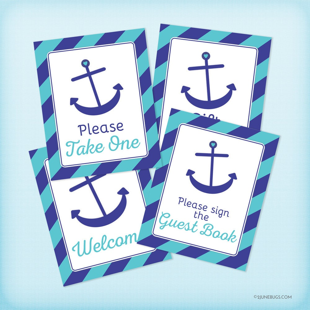 Nautical Baby Shower Table Signs, Navy Blue And Turquoise Nautical Baby  Shower Decorations, Anchor