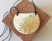 Geometric Pendant, Statement Necklace, Ceramic Pendant Necklace, BoHo Necklace, Ceramic Jewelry, Modern Necklace, Women, Gift for her