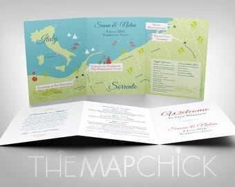 Wedding Map Invitation, Italy, Custom Map, Map Card, Destination Wedding, Wedding Gift, Guest Book, Map and Directions, CW Designs, Program