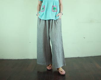 Boho Chic Comfy Oversize Pintuck Dusty Oilve Taupe Cotton Muslin Wide Leg Pants With 2 Inseam Pockets Freesize Pants