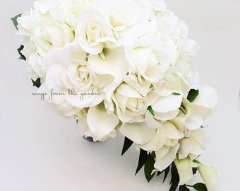 Reserved for Rebecca - Cascade Bridal Bouquet Featuring Real Touch Gardenia White Roses Calla Lilies - Cascading Tear Drop Bridal Bouquet