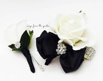 Reserved  for Chastity - Black and White with Rhinestones Real Touch Rose Wedding Boutonniere Wedding Corsage - Custom Order