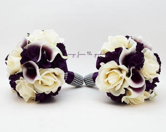 Reserved for Candace - Purple Wedding Flower Package Bridesmaid Bouquets Bridal Bouquet Corsage and Boutonnieres